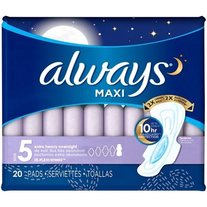 Picture of Always Maxi Size 5 Extra Heavy Overnight Pads with Wings, Unscented, 20 Count Feminine Care